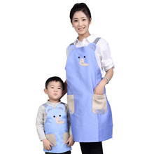 2017 Cartoon Blue Children Painting Aprons Cute Small Elephant Aprons Fashion parent-child Clothing Apron Women Kids Aprons New(China)