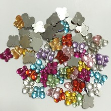 HOT 100pcs MIXED plastic Butterfly Bead flatback Scrapbook/ Craft Flatback Beads DIY B10A(China)