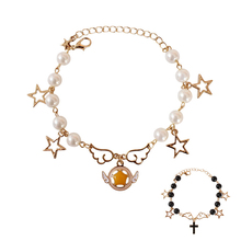 Miage Cute Cartoon Star Japanese Girl Wing Cross Imitation Pearl Metal Chain Braclet Women Charm Jewelry Accessories(China)