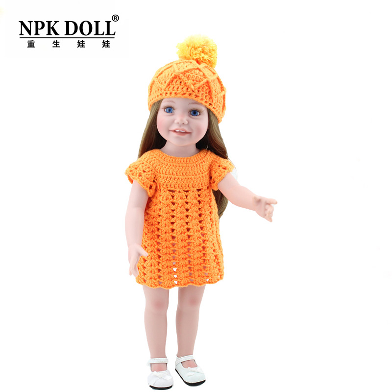 18 45cm Vinyl Toddler Girl Dolls Toys Cute Childs Play Doll With Orange Crochet Dress Outfits Brown Hair<br><br>Aliexpress