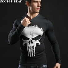 2017 Brand Men Marvel Superhero T Shirt Punisher Long Sleeve T Shirts Fitness Superman 3D Shirts Compression Shirt Tights Male(China)