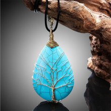 6*4cm Tree of Life Necklace Natural Crystal Stone Pendant Leather Chains Necklace For Women Trendy Jewelry
