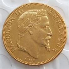 High Quality France 1862B Napoleon III - 50 Francs Gold Plated Coins Copy