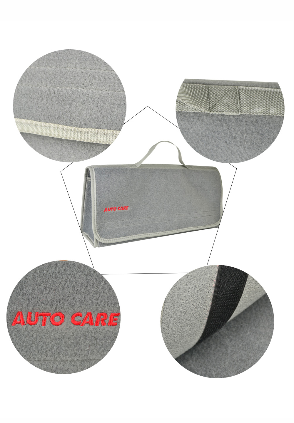 Auto Care Large Car Smart Tool Bag Grey Trunk Storage Organizer Bag Built in strong Velcrofix system holds to car carpet 5
