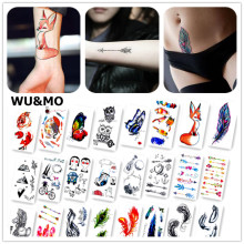Colorful Butterfly Fox Feather Body Art Sexy Harajuku Waterproof Temporary Tattoo For Man Woman Henna Fake Flash Tattoo Stickers