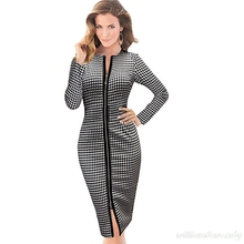 Women Ukraine Spring Vintage Zipper Office Work Dress Retro Sexy Plaid Evening Party Long Bodycon Prom Bandage Beautiful Vestido