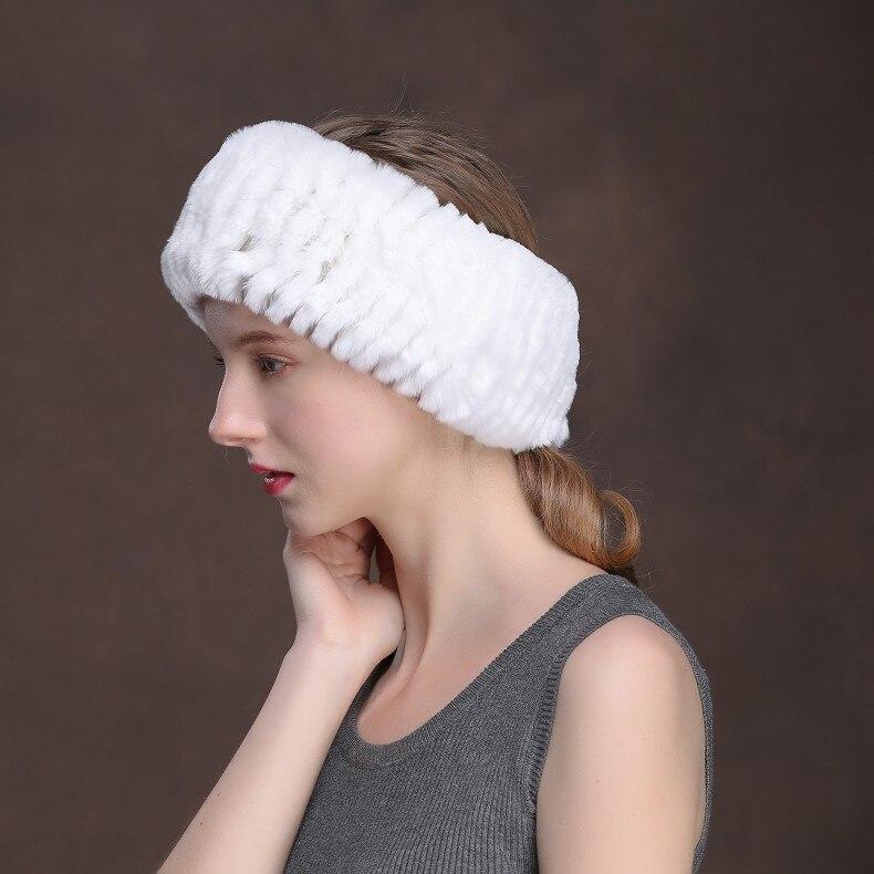 Winter Fur Headbands For Women Knitted Rex Rabbit Fur Scarf Hats Natural Fur Ring hairband Neckwarmer female (16)