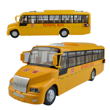 Alloy school bus pull back acousto-optic simulation models children kid toys Children's day birthday gift 1:32(China)