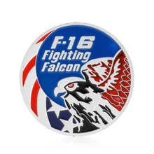 1PC Zinc Alloy Commemorative Coins F-16 Fighting Falcon Commemorative Coins Collection Physical Art Challenge Gift New XQ