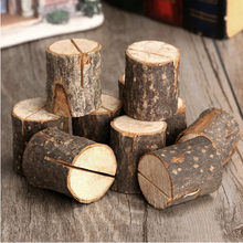10pcs/pack Wooden Stump Shape Wedding Party Reception Place Card Holder Stand Number Name Table Menu Picture Clip Card Holder(China)