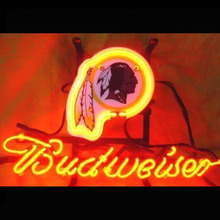 Neon Sign Budweiser Bud Light Can STEELE MAN CAVE Redskin Football Kansas Twins Jersey UBS Raiders Dolphins HORSEGlass Tube 13x8(China)