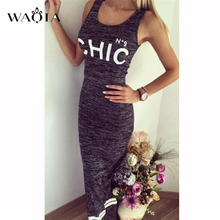Buy Letter Print Sexy Women Dresses 2017 Fashion Summer Grey Long Dress Solid Sleeveless Lady Dress Girls Vestidos Plus Size S-XL for $7.09 in AliExpress store