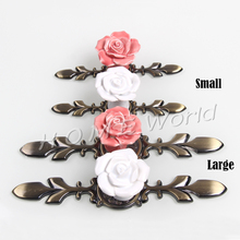 Pink Rose Ceramic Alloy Base Door Handles Kitchen Cupboard Closet Drawer Cabinet Knobs Furniture Accessories(China)