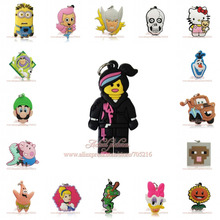 Hot 1pcs Cartoon Pendant Minions Skull kitty Princess Jewelry Making PVC keychain Charm action figure toy Kid Party toys