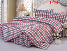 Twin Full Queen Plaid Polyester Bed Skirt 4Pcs Bedding Set Bed Dust Ruffle Bedclothes Sets Duvet Cover Quilt Cover Pillowcase(China)