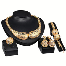 Unique Design Jewelry Sets Hollow Out Earrings Necklace Bangle Party Wedding Bridal Jewlry Accesories P15(China)