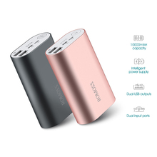 ROMOSS ACE 10000mAh Dual USB Outputs Micro & 8pin input Aluminum Alloy External Battery Pack Power Bank For Tablets Smartphone
