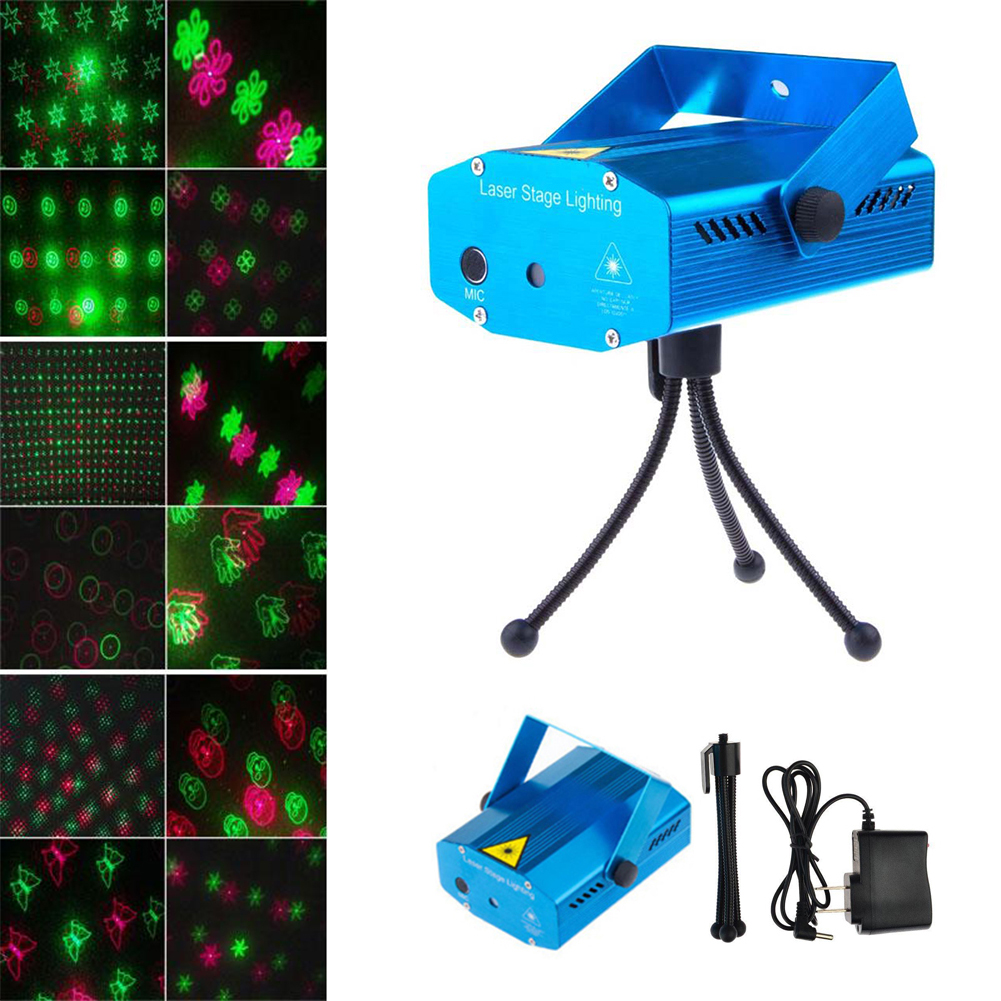 TSLEEN Mini LED Stage Laser Projector Voice Control Pointer Night Club Stage Light Show Party DJ Disco Xmas Pattern Lighting(China (Mainland))