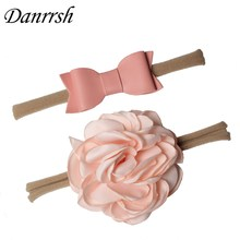 2Pcs Baby Girls Nylon flower Headband Set Synthetic Leather Bows Elastic Hairband for Kids Children Hair Accessories
