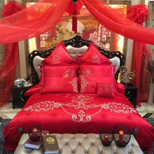 4/6pcs red bedding set queen king size wedding floral embroidery pillow case jacquard quilt cover satin bed sheets 100% cotton
