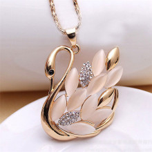 Hot 1Pcs Mini Order Opal Cat Crystal Rhinestone Elegant Swan Necklace For Women Collar Nice Gift For Girls