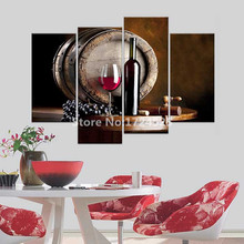Modern Red Wine Fruit Home Decor Pictures Canvas Prints Bar Dining Room Wall Paintings For Kitchen Wall Posters(China)