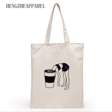 Hot Selling Canvas Women Casual Shoulder bag Black and White Color Eco-friendly Reusable Promotional Organizers Shopping bag