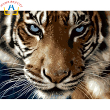 Digital Diy oil painting by numbers tiger wall decor picture on canvas oil paint coloring by number drawing animals 6409(China)