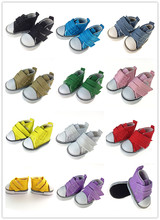 New Assorted Colors One Pair Canvas Shoes For BJD Doll,Fashion Mini Toy Shoes 1/6 Bjd Shoes for Doll Accessories(China)