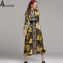 Early Winter Fashion Maxi Dresses 2017 Noble Floral Print Sashes Gold Black Turtleneck Belt Embroidery Vintage Long Dress