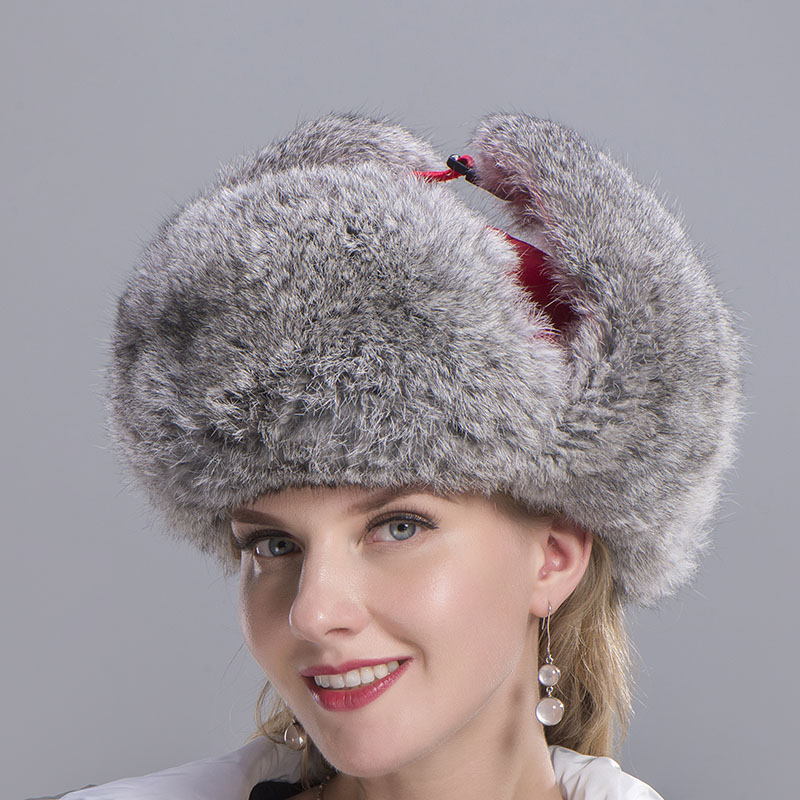 rabbit fur hat women red 5