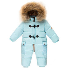 Cold Winter Costumes Baby Clothes Newborn Warm Rompers Enfant Outwear Snowsuit Fur Collar Duck Down Waterproof Jumpsuit Boy Girl