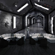 Free Shipping modern fashion space capsule wallpaper cafe Children room Bar restaurant background Black chamber wallpaper mural