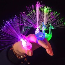 Traceable Shipping Peacock / Robot LED Fiber Finger Beaming  Light Ring Funny Toy For Kid In Holiday Party Preps In Random Color