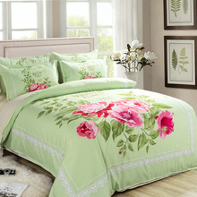 Cotton floral bedding set king queen twin lily red leaves green comforter duvet quilt cover single double bedspreads