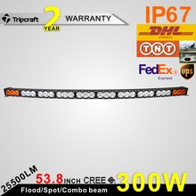 Top quality 53.8Inch 300W Curved White Amber Led Light Bar Lighting Police Fog light Warning led Offroad Boat Car Truck IP68