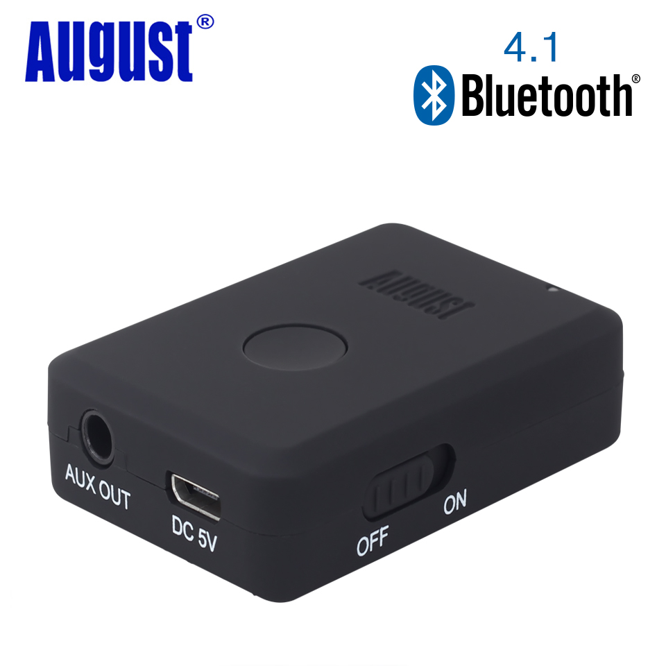 August MR230B_B Bluetooth v4.1 Audio Receiver Wireless Music Adapter for Car/ Hifi Speakers/Headphones 3.5mm and 2RAC Aux Out