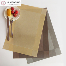 100pcs Free Shipping 3 Solid Colors Placemat PVC Kitchen Accessories Gray/Brown/Beige Table Mat
