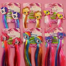 New Fashion Cute My little Ponys Cartoon Hairclips Unicorn Hairpin Kids Girls hair accessories with Long Colorful Wig Decoration
