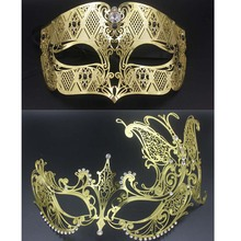 Black Gold Masquerade Couple Mask Lot Butterfly Mask Costume Prom Ball Metal Venetian Men Women Costume Cosplay Party Mask Set