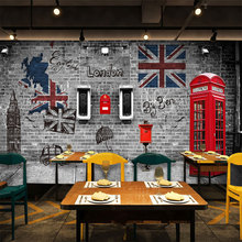 Custom 3d mural vintage mailbox mural Cafe restaurant clothing shop living room backdrop British style building wallpaper mural(China)