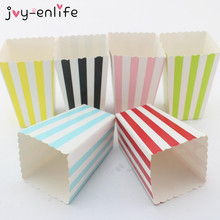 JOY-ENLIFE 12pcs/lot Colorful Mini Party Paper Popcorn Boxes Candy Favor Bags Wedding Birthday Movie Party Supplies(China)