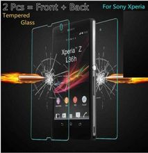 Z Premium 9H Tempered Glass For Sony Xperia Z C6603 C6602 Z LTE Z HSPA+ 2Pcs Front + Back  Screen Protector Film Free Shiping