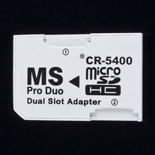 High Quality CR-5400 MS pro duo Dual slot adapater Transfer Micro SD TF card  to Memory Stick Pro Duo for sony psp PS camera