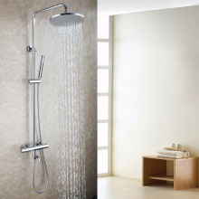 Buy Brass Bath Tub Spout 10 Round Rainfall Shower Head Thermostatic Chrome Brass Exposed Bathroom Shower Faucet Set for $255.00 in AliExpress store