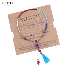 KELITCH 2017 New Statement 1Pcs Tassel Seed Beads Bracelets String Rope Handmade Adjustable Mini Bracelet For Women Girls Bijoux(China)