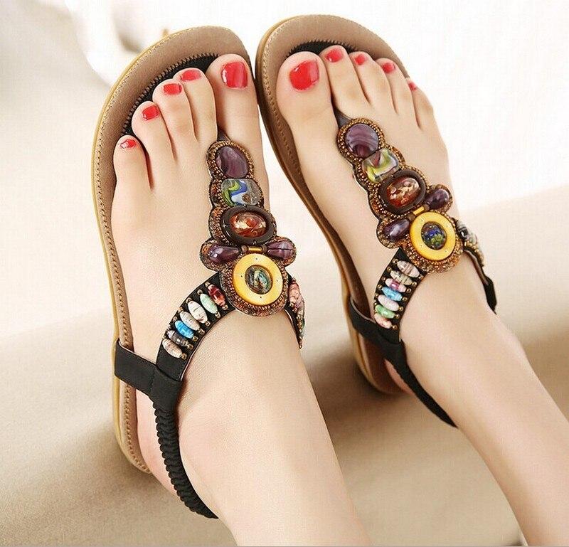 2017 New Summer Flip Flops Women Sandalen Flat Sandals Fashion Ladies Bohemia Beach Sandalias Mujer Brand Gladiator Casual Shoes<br><br>Aliexpress