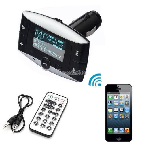 2015 NEW Blue LCD Car Kit MP3 Bluetooth Player Handsfree Wireless FM Transmitter Modulator Car charger +SD MMC USB Remote(China)