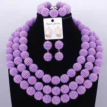 Purple Party Bridal Jewelry Sets Pearls Ball Beads Necklace Jewelry Big Design Nigerian African Wedding Jewelry Set Dubai