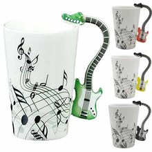 Creative Guitar Music Handgrip Mug Ceramic Mugs 300ml Coffee Cup/novelty Gift Lovers Water Cups Bottle Trinket Novelty Items(China)